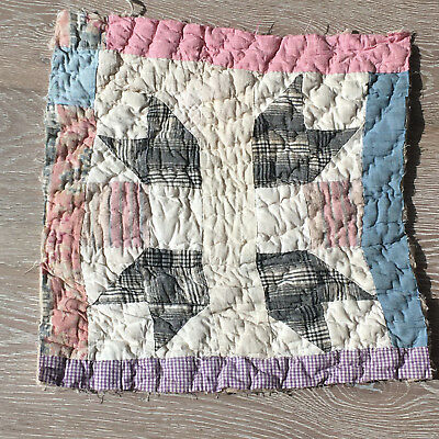 Antique Cutter Patchwork Quilt piece - great for crafts or pillows Vintage! #9