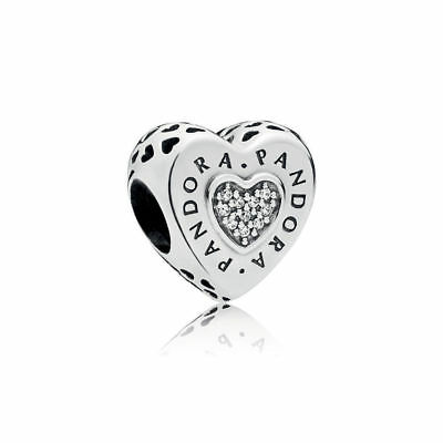New Authentic Genuine PANDORA Signature Heart Charm, Clear CZ 797375CZ