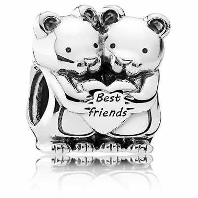 New Authentic Genuine PANDORA SILVER BEST BUDDIES BEAR FRIEND CHARM 792151
