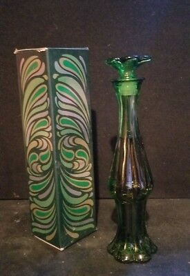 Avon Emerald Green Bud Vase Topaze Cologne Full Bottle Vintage 70s 8.75 in Tall
