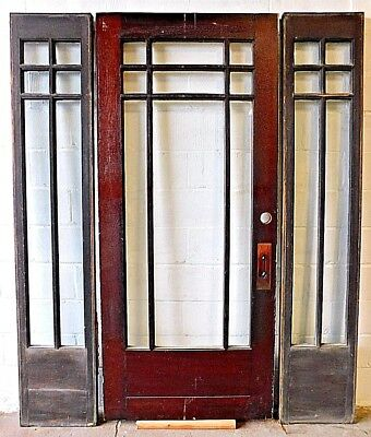 1910s Wooden ENTRY DOOR & SIDELIGHTS Original CRAFTSMAN MISSION Style Fir ORNATE