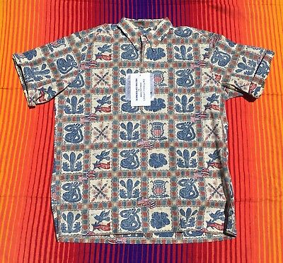 Reyn Spooner Dietrich Varez 1/4 button 2010 4th of July Hawaiian Shirt Men's L