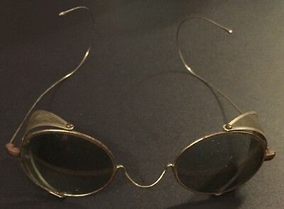 Antique Tinted Oval Safety Glasses Welding SteamPunk Wire Frames Old Vintage