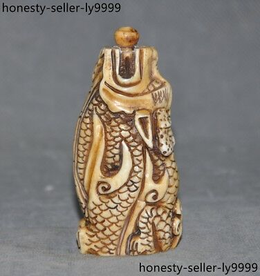 China Chinese old Cattle bone Hand carved Loong Dragon beast statue snuff bottle