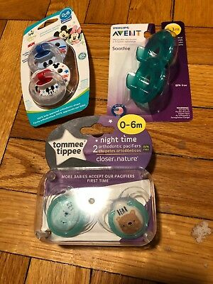 Tommee Tippee NUK Disney Avent Soothie Pacifiers LOT 0-6 mo New