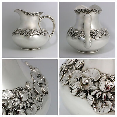 Gorham Sterling Silver Water Pitcher Water Lilies 1898 Date Mark