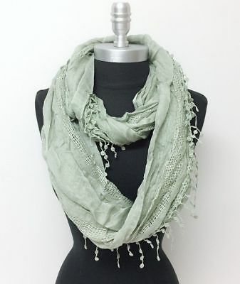 Women's Solid basket-weave Infinity Crochet Scarf 2-Circle Wrap Soft Dusty Olive