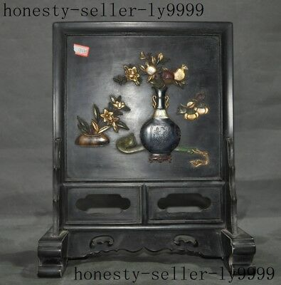 old Chinese Rosewood mosaic shell lapis lazuli jade carving Flowers Screen Byobu