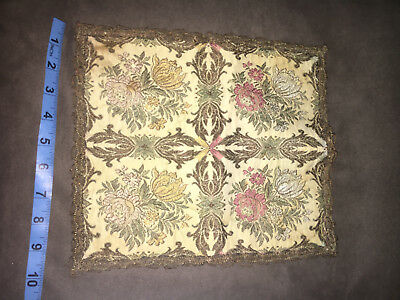 Vintage Gold Tapestry Embroidered Velvet Table DOILIE DOILY Mid Century SQUARE