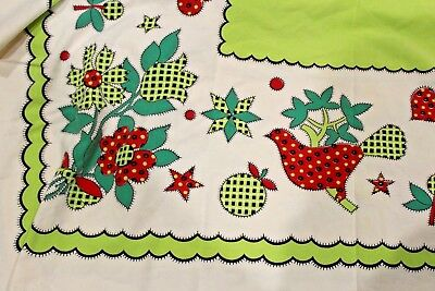 vintage Garden 1950s Calico by Marlene Linens TABLECLOTH 45 x 44 red green birds