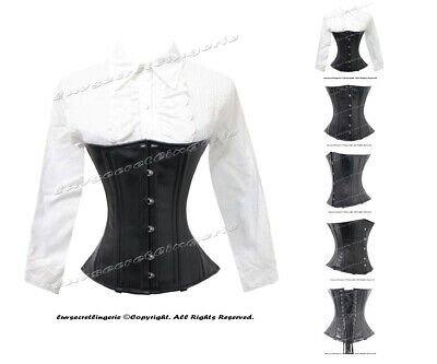 26 Double Steel Boned Heavy Waist Training Faux Leather Underbust Corset 8043-FL