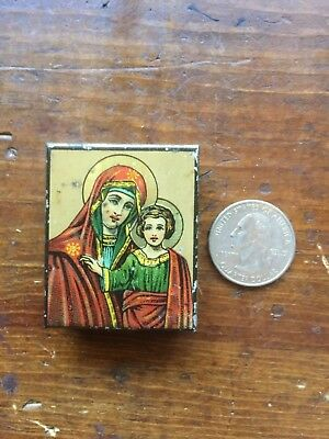 Antique Russian Icon/Madonna & Child Printed on Metal