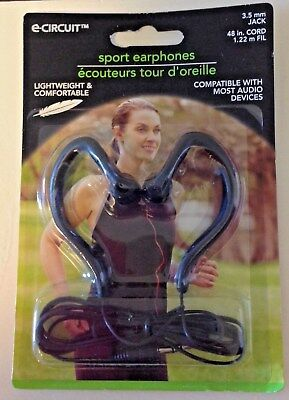 SPORT EARPHONES Lightweight & Comfortable 3.5 mm Jack BLACK Over the Ear Buds