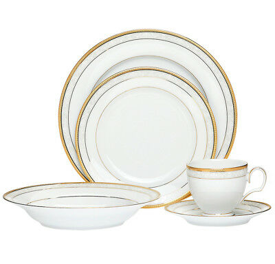 NEW Hampshire Gold 20 Piece Dinner Set with Gift Box - Noritake,Dinnerware Sets
