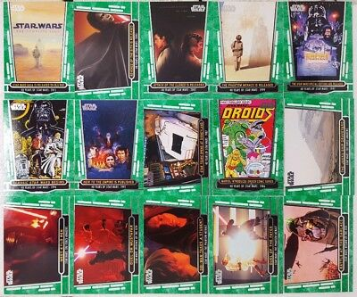 STAR WARS 40th ANNIVERSARY Green Parallel Card Lot of 22 topps 2017