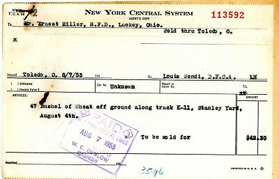 New York Central Railroad, Paperwork for 47 Bushels of Wheat picked off ground