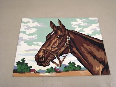 """Vintage Paint By Number Horse Painting 12"""" by 16"""" Nicely Done"""