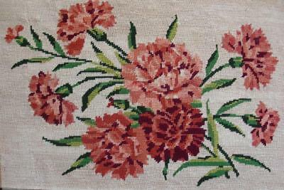 "Vintage completed cotton needlepoint tapestry flowers on off-white 18.5""x12"""