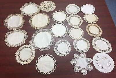 Vintage Crocheted Doilies - Round - White, Ecru, Ivory Lot Of  21