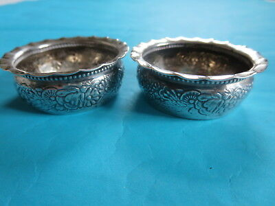 Pair of 2 1889 Gorham Repousse Sterling Silver #2235 Individual Open Salts