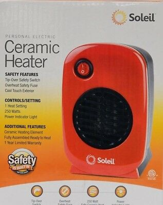 Ceramic Heater Personal Portable Soleil Electric Space Heater Small 250W Red