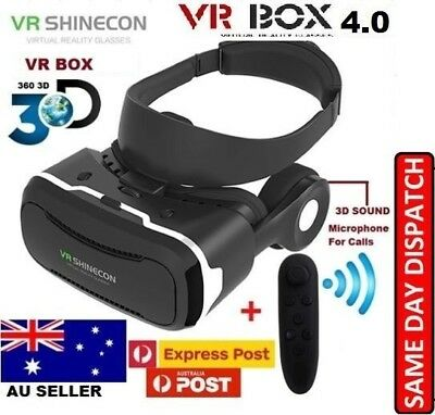 3D Virtual Reality VR Headset Movie Glasses Goggles Box For Samsung Galaxy AUS