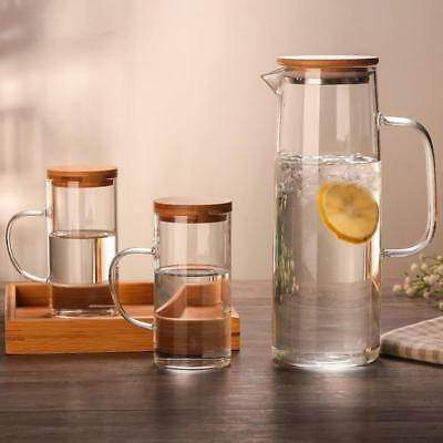 Heat-Resistant Clear Glass Pitcher Jug Water Drinking Tea Pot Carafe Bamboo Lid