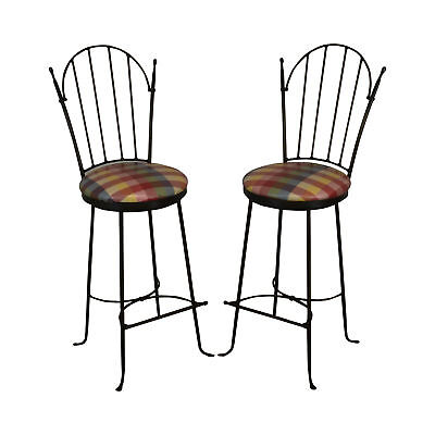 Charleston Forge 'Shaker Arch' Pair of Iron Swivel Bar Stools