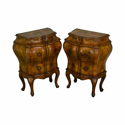 Italian Rococo Bombe Pair Olive Wood Chests Nightstands Commodes