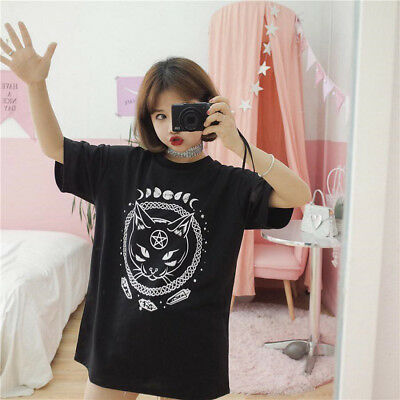 Women Girl Funny Short Sleeve Moon Cat Print Punk Gothic Top Blouse T Shirt US