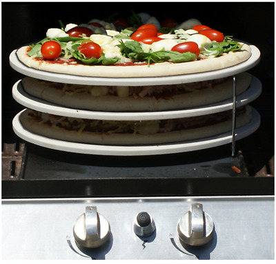 3 Tier Chrome Pizza Rack for Oven or BBQ; Cook 3 pizzas at once
