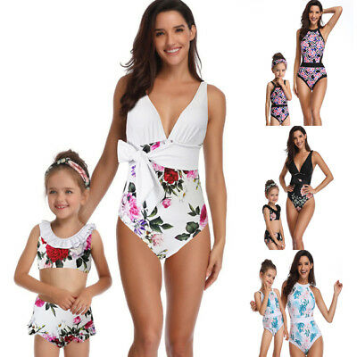 3467386ce4 Mother Daughter Women Girls Kids Floral Swimsuit Family Matching Outfits  Clothes