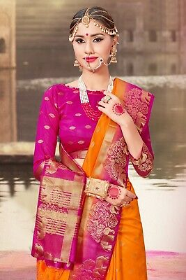 Indian Sari Bollywood Saree Traditional Orange Woven Banarasi Art Silk -1179