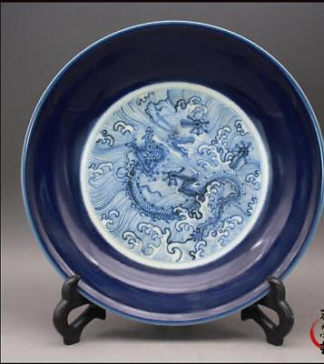Nice Chinese Antique Ming Blue White Porcelain Dragon Plate