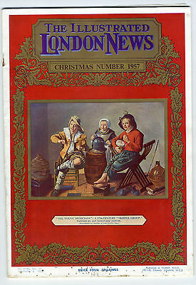 1957 ILLUSTRATED LONDON NEWS Christmas TOYS Colour Artwork SNOW Skiffle (8716)