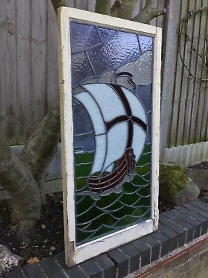 Antique Stained Glass Leaded Window And Frame Old Large Sailing Ship Vintage