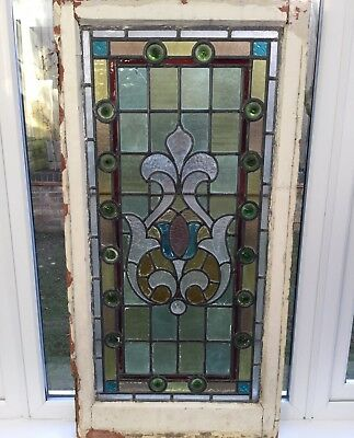 Victorian Stained Glass Leaded Window & Frame Old Large Antique c1900 Reclaimed