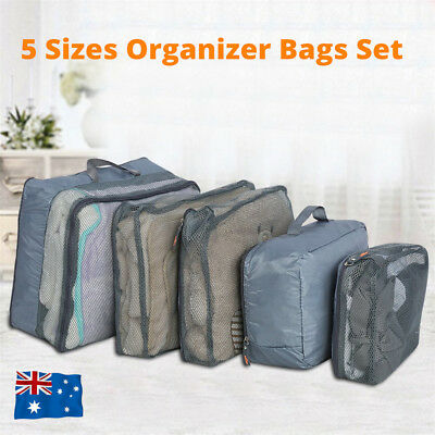 5X Travel Packing Cubes Storage Bag Set Clothes Luggage Organizer Packing Bags