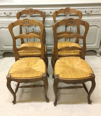 Superb Quality Set of 4 Old French LXV Chairs with rush seats
