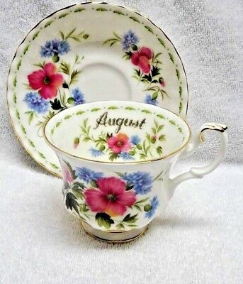 Royal Albert Flower of the Month August Cup and Saucer 1970