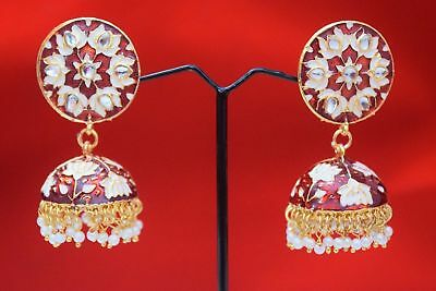 Indian Red Jhumki Jhumka Earrings Set Women Bollywood Wedding Ethnic Jewelry