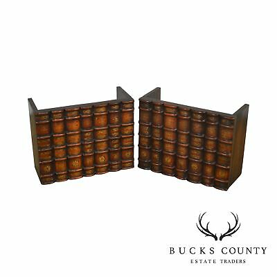 Maitland Smith Pair of Carved Wood Frame Book Facades