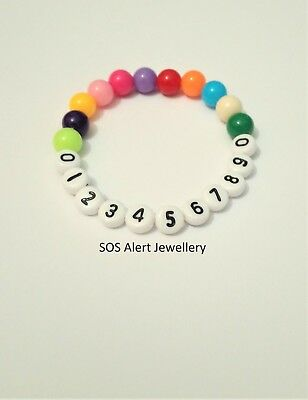 Lost Child Holiday Must Have Emergency Phone Number Alert Stretch Bracelet 6""