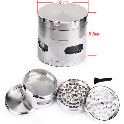Argente 55MM Epice Broyeur a main Moulin a Herbe pollen 4 couches Grinder