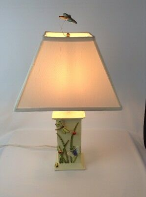 Table Lamp Lampshade Beige Insects Bugs Grasshopper Dragon Fly Butterfly Used