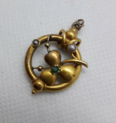 Pukka Antique Victorian 15ct Gold,Emerald & Natural Seed Pearl Pendant 3.5g.