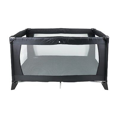 Babyway Classic Travel Cot and Play Pen (Black) with Mattress