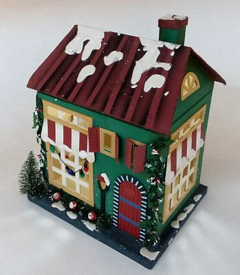 "Cardboard Christmas Glitter House Bottle Brush Tree Green Box Lidded Large 12"" H"