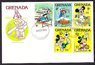 1979 Grenada Goofy Cricket Cachet Walt Disney 1st Day Cover displaying 5 stamps