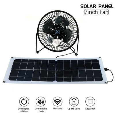 10W 12V Solar Panel 7'' Fan RV Touring Car Camping Greenhouse Chick Pet House